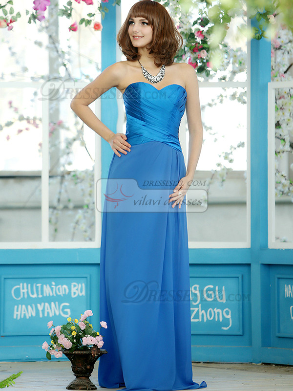 Sheath Chiffon Sweetheart Floor-length Draped Splicing Color Bridesmaid Dresses Size 2 And Size 4