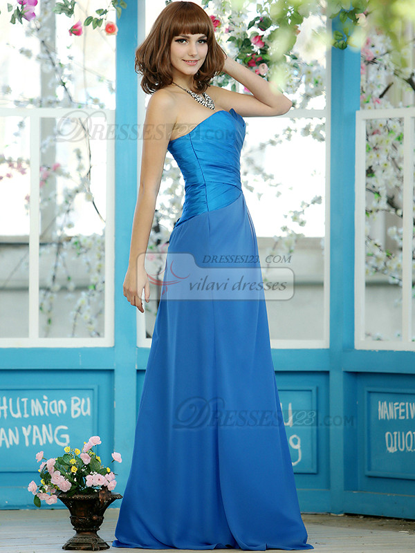 Sheath Chiffon Sweetheart Floor-length Draped Splicing Color Bridesmaid Dresses