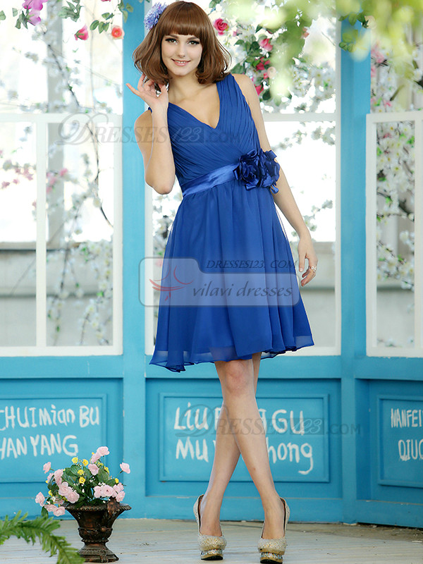 Pleated A-line Chiffon V-neck Straps Knee-length Royal Blue Sash with Flower Bridesmaid Dresses