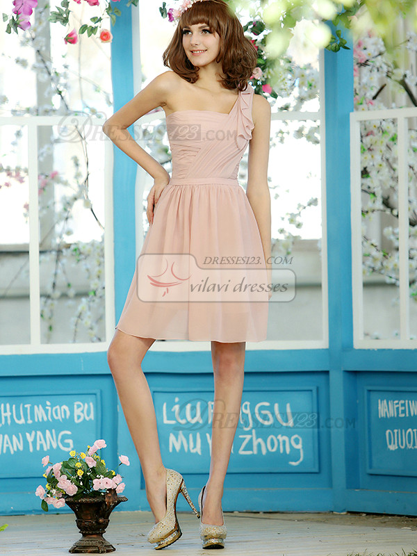 A-line Chiffon One shoulder Knee-length Draped Bridesmaid Dresses