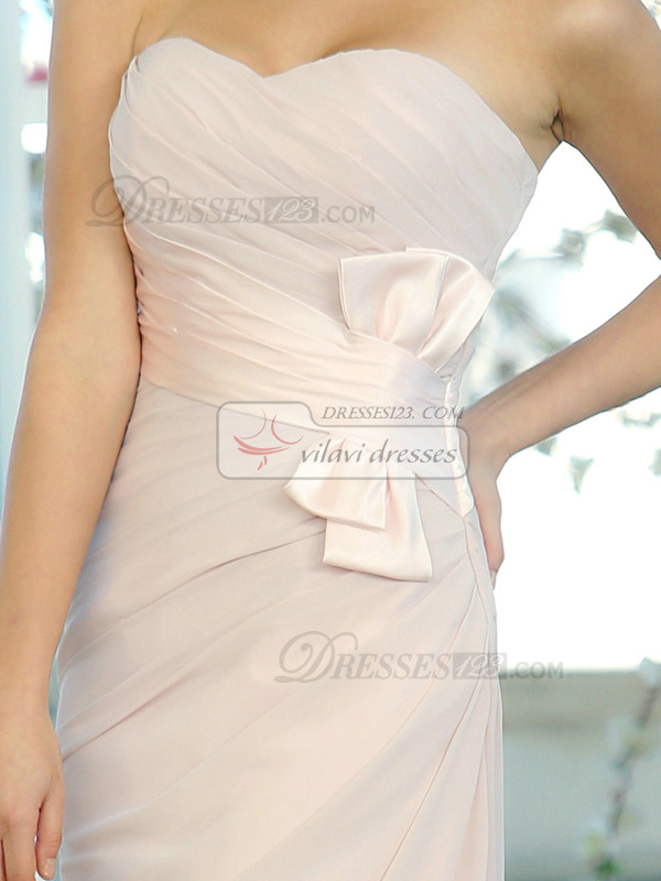 Sheath Chiffon Sweetheart Floor-length Sash with Bowknot Bridesmaid Dresses
