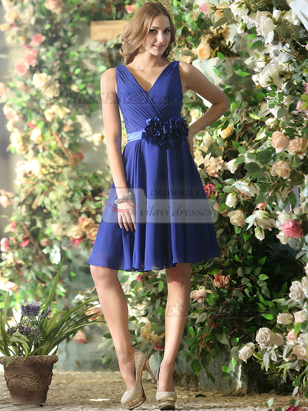 A-line Chiffon V-neck Knee-length Royal Blue Sash with Flower Bridesmaid Dresses