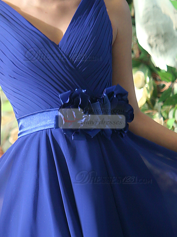 A-line Chiffon V-neck Knee-length Royal Blue Sash with Flower Bridesmaid Dresses Size 2 And Size 4