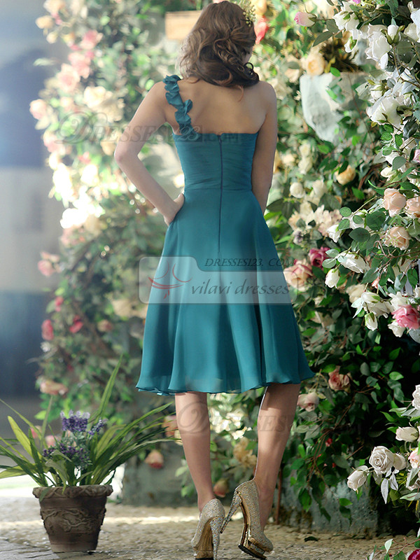 Ruched A-line Chiffon One shoulder with Flower Tea-length Draped Bridesmaid Dresses