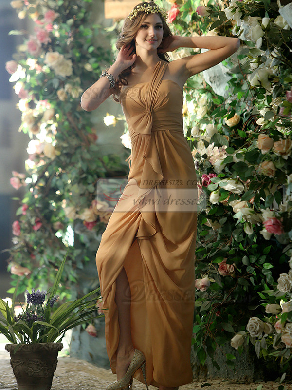 Chic Sheath Chiffon One shoulder Ankle-length Split Front Bridesmaid Dresses