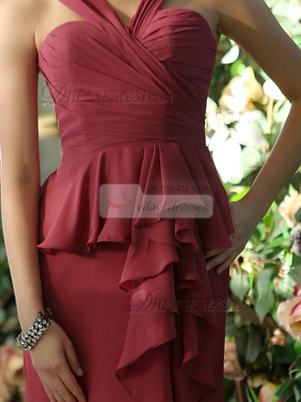 New Style Sheath Chiffon Straps Ankle-length with Waist Skirt Bridesmaid Dresses