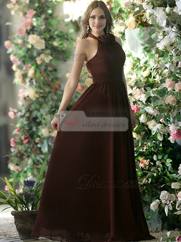 Pleated A-line Chiffon Halter with Flowers Floor-length Chocolate Bridesmaid Dresses