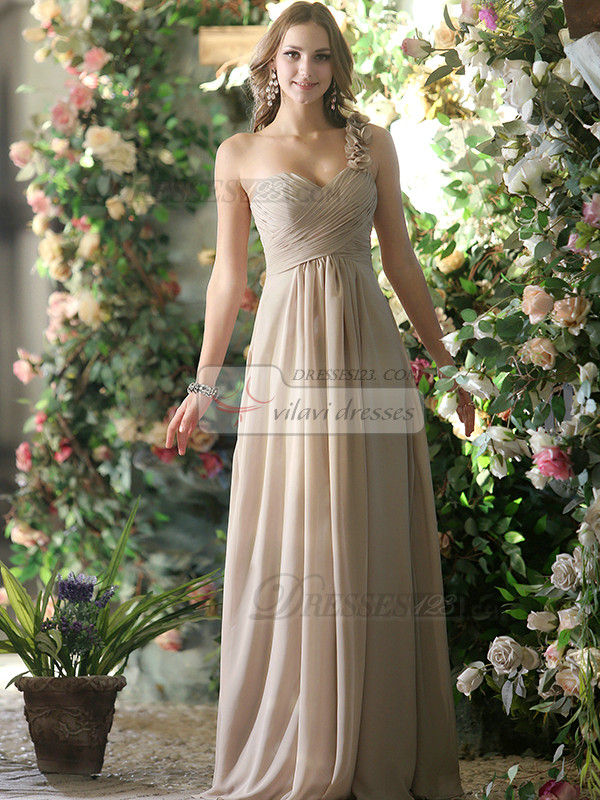 Simple A-line Chiffon One shoulder with Flowers Floor-length Silver Draped Bridesmaid Dresses