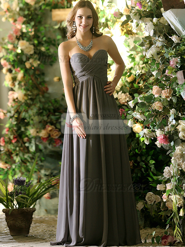 Pleated A-line Chiffon Sweetheart Floor-length Draped Bridesmaid Dresses
