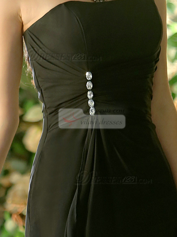 Formal A-line Chiffon Bateau Floor-length Black Beading Bridesmaid Dresses
