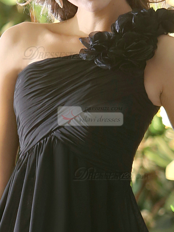A-line Chiffon One shoulder with Flowers Floor-length Black Bridesmaid Dresses