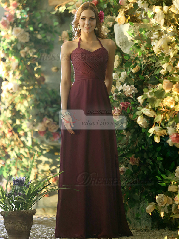 A-line Chiffon Halter Floor-length Grape Draped Bridesmaid Dresses Size 2 And Size 4