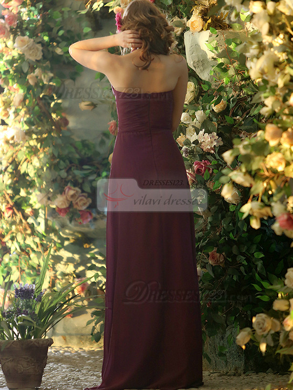 A-line Chiffon Halter Floor-length Grape Draped Bridesmaid Dresses