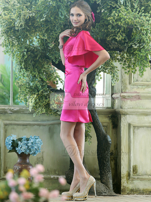 Sheath Stretch Satin One shoulder Cap Sleeve Short Fuchsia Beading Bridesmaid Dresses