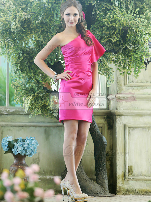 Sheath Stretch Satin One shoulder Cap Sleeve Short Fuchsia Beading Bridesmaid Dresses Size 2 And Size 4
