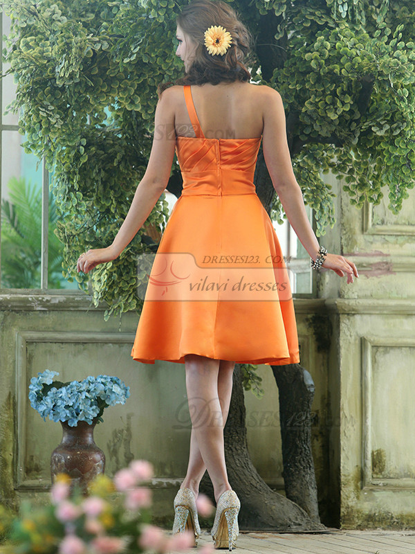 Cute A-line Stretch Satin One shoulder with flower Knee-length Orange Sash Bridesmaid Dresses Size 2 And Size 4