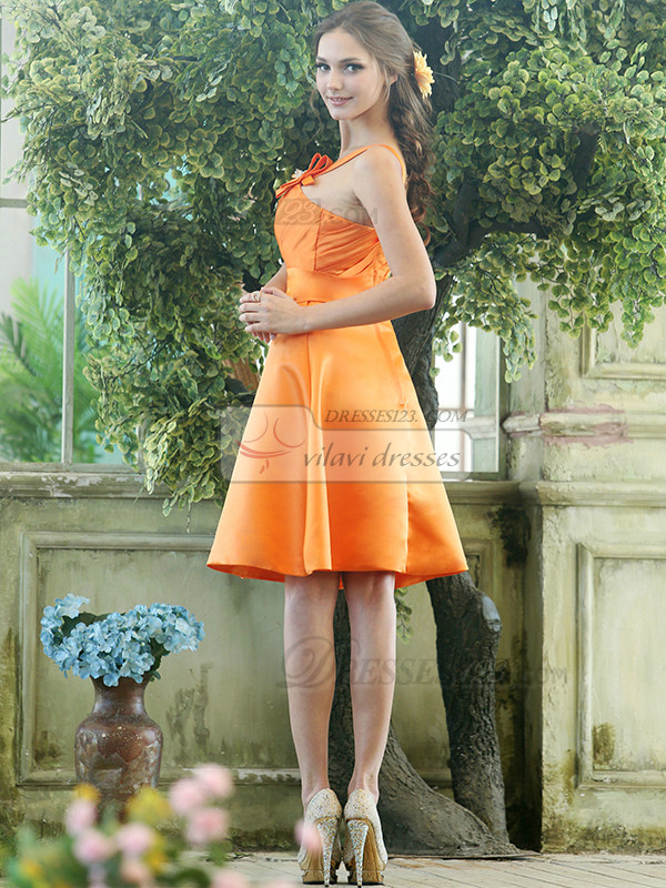 Cute A-line Stretch Satin One shoulder with flower Knee-length Orange Sash Bridesmaid Dresses
