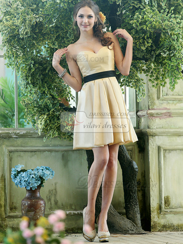 A-line Stretch Satin Sweetheart Knee-length Draped Black Sash Bridesmaid Dresses