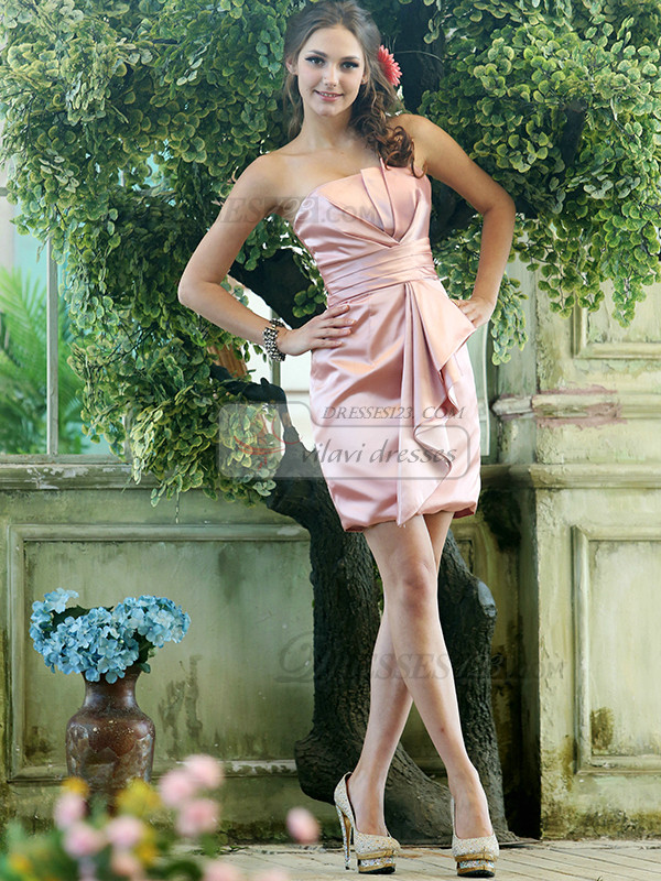 Pleated Sheath Stretch Satin Scalloped-edge Short Pink Draped Sash Bridesmaid Dresses