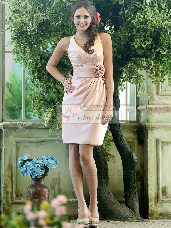 Sheath Stretch Satin V-neck Knee-length Pink Sash with Flower Bridesmaid Dresses