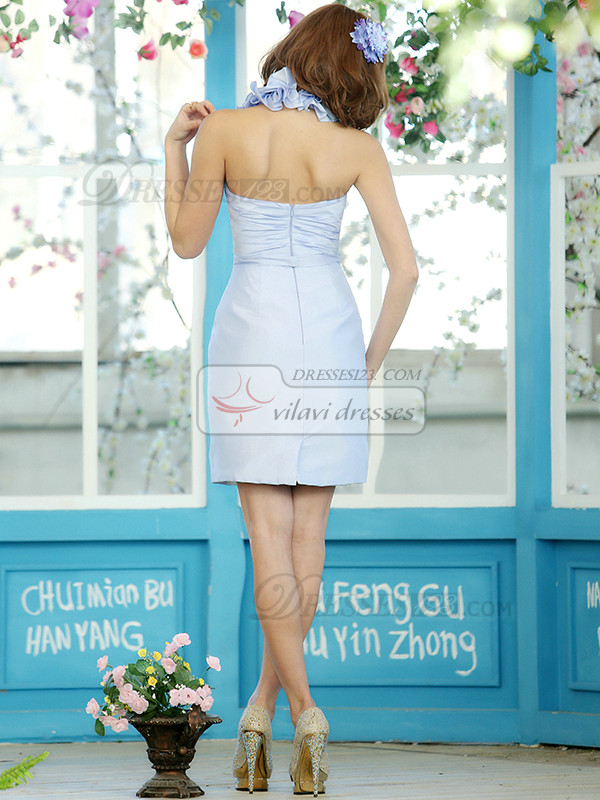Sheath Stretch Satin Halter Flower Straps Short Light Sky Blue Draped Bridesmaid Dresses Size 2 And Size 4