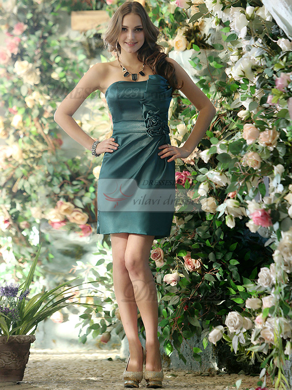 Smart Sheath Stretch Satin Asymmetrical Collar Short Dark Green Sash with Flower Bridesmaid Dresses