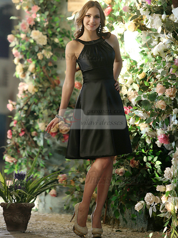 Open Back A-line Stretch Satin Round Brought Tea-length Black Draped Bridesmaid Dresses