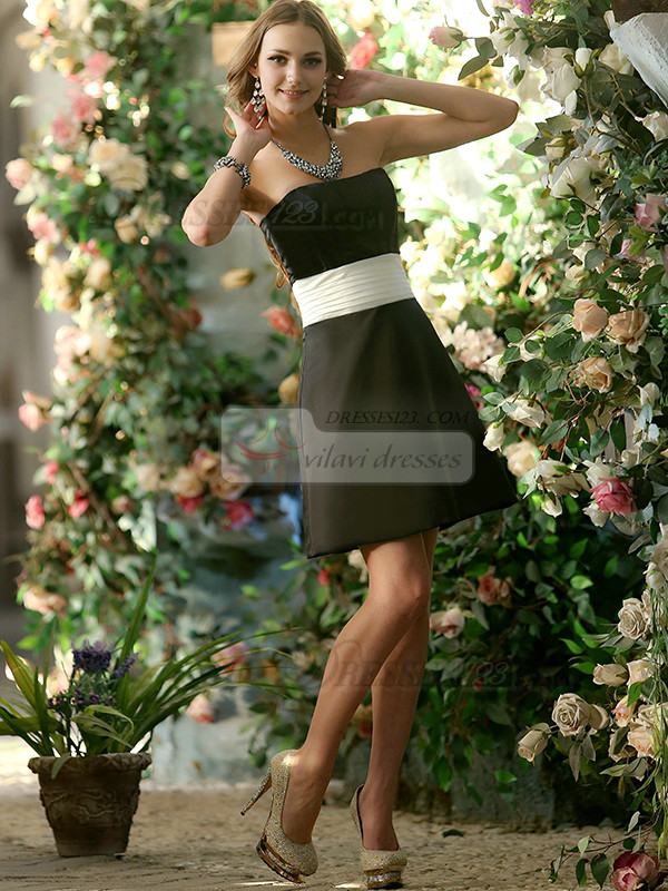 A-line Stretch Satin Strapless Short Black and White Sash Bridesmaid Dresses