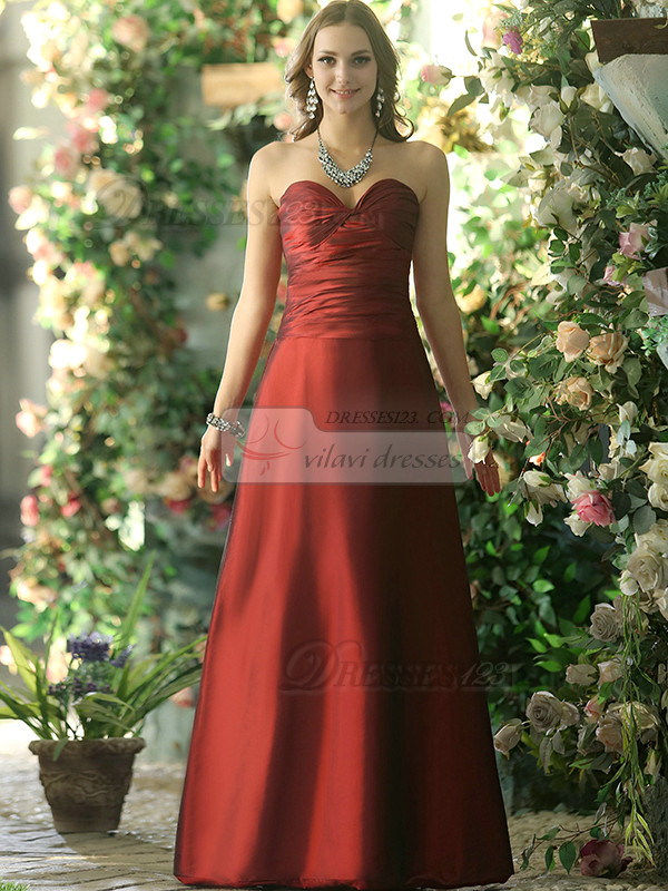 Dressy A-line Stretch Satin Sweetheart Floor-length Burgundy Draped Bridesmaid Dresses Size 2 And Size 4