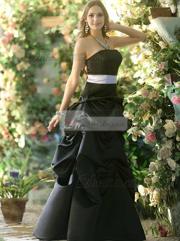 Formal Princess Stretch Satin Strapless Floor-length Black Pick-Ups Bridesmaid Dresses
