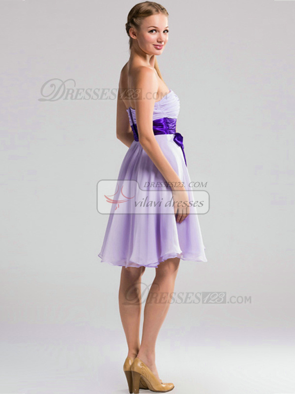A-line Strapless Short Chiffon Lilac Ruched Bridesmaid Dresses