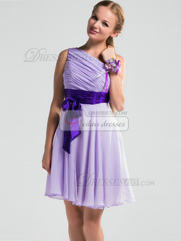 A-line One Shoulder Short Chiffon Lilac Ruched Bridesmaid Dresses