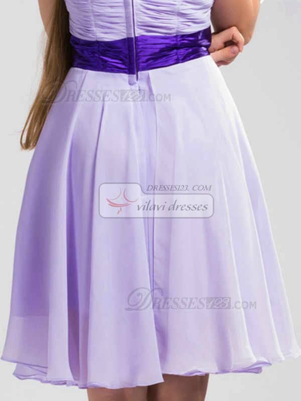 A-line Halter Short Chiffon Ruched  Lilac Bridesmaid Dresses