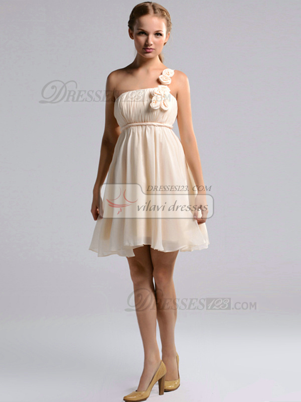A-line One Shoulder Short Chiffon Draped Champagne Bridesmaid Dresses With Flowers