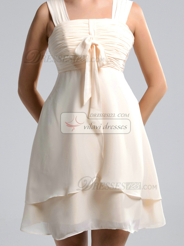 A-line Straps Short Chiffon Champagne Ruched Bridesmaid Dresses