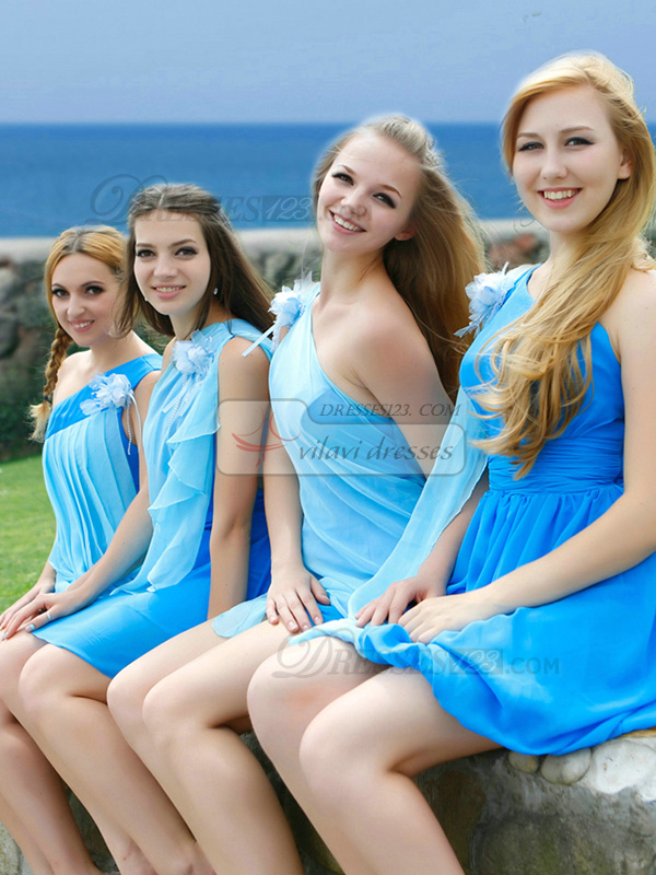 Sheath One Shoulder Short Chiffon Draped Blue Bridesmaid Dresses
