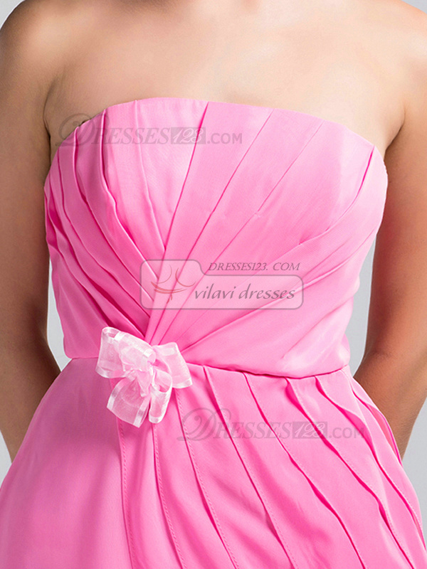 Sheath Strapless Short Chiffon Draped Pink Bridesmaid Dresses