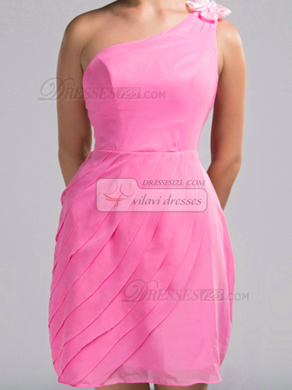 Sheath One Shoulder Short Chiffon Draped Pink Flower Bridesmaid Dresses