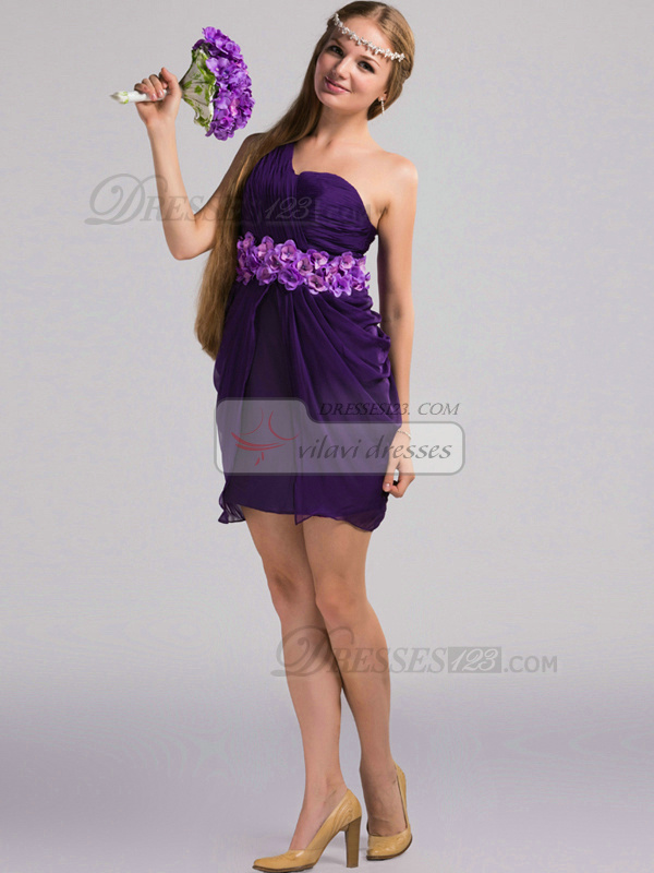 Sheath One Shoulder Short Chiffon Grape Flower Bridesmaid Dresses