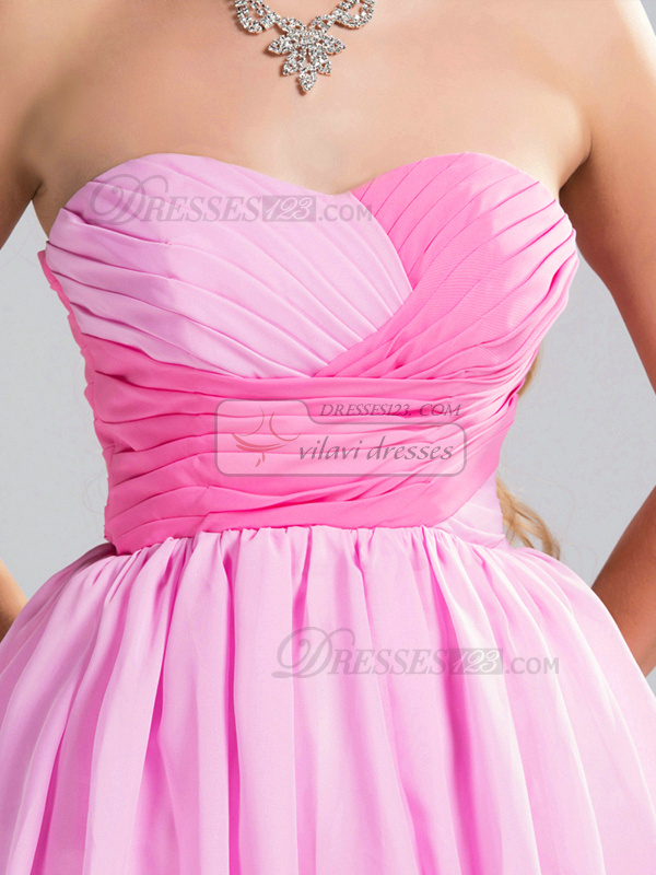 A-line Strapless Short Chiffon Draped Pink Bridesmaid Dresses