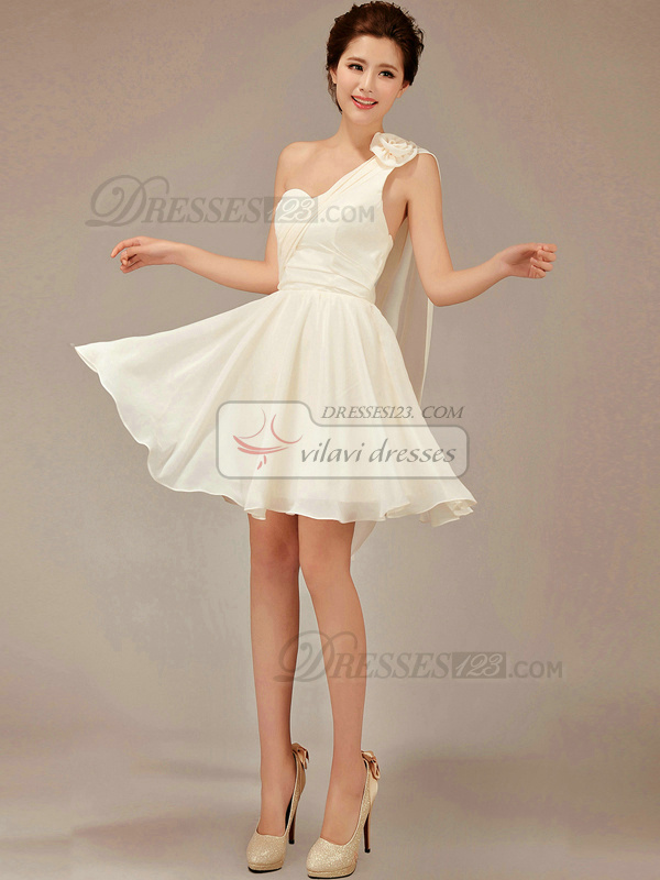 A-line One Shoulder Short Chiffon Champagne Flower Bridesmaid ...