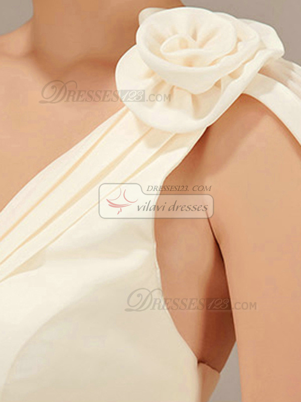A-line One Shoulder Short Chiffon Champagne Flower Bridesmaid Dresses
