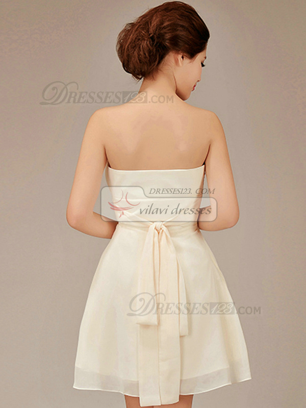 A-line Strapless Short Chiffon Flower Champagne Bridesmaid Dresses