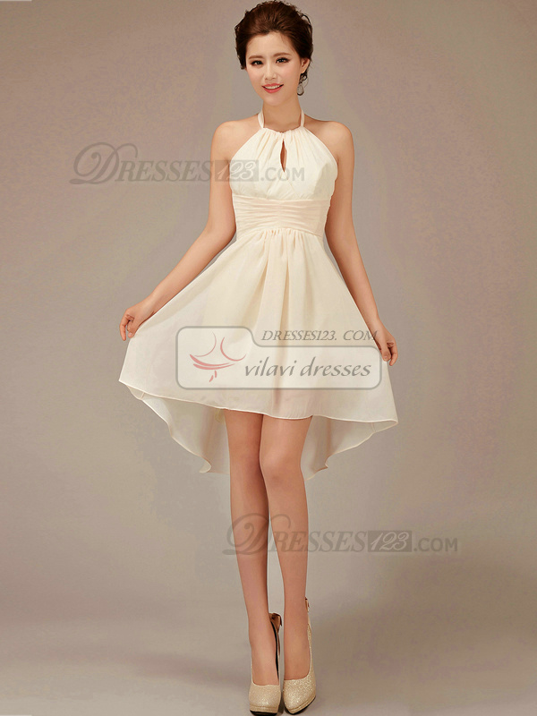 A-line Halter Short Chiffon Tiered Champagne Bridesmaid Dresses