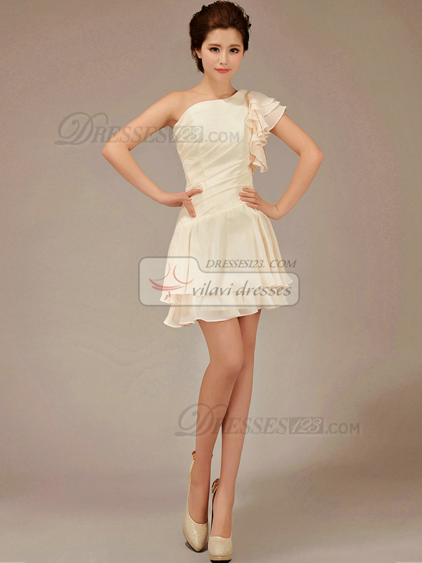 A-line Asymmetrical Collar Short Chiffon Lotus Leaf Sleeve Champagne Bridesmaid Dresses