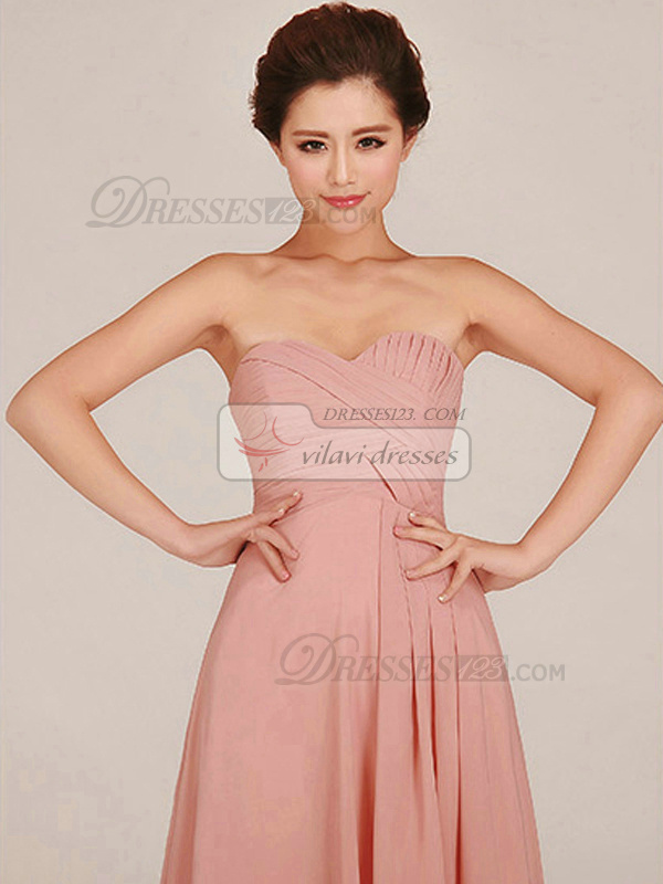 Column Strapless Floor-length Chiffon Pink Tiered Bridesmaid Dresses