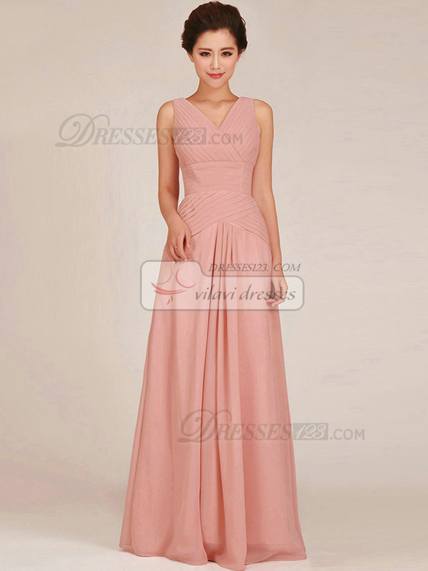 Column V-neck Floor-length Chiffon Ruched Pink Bridesmaid Dresses