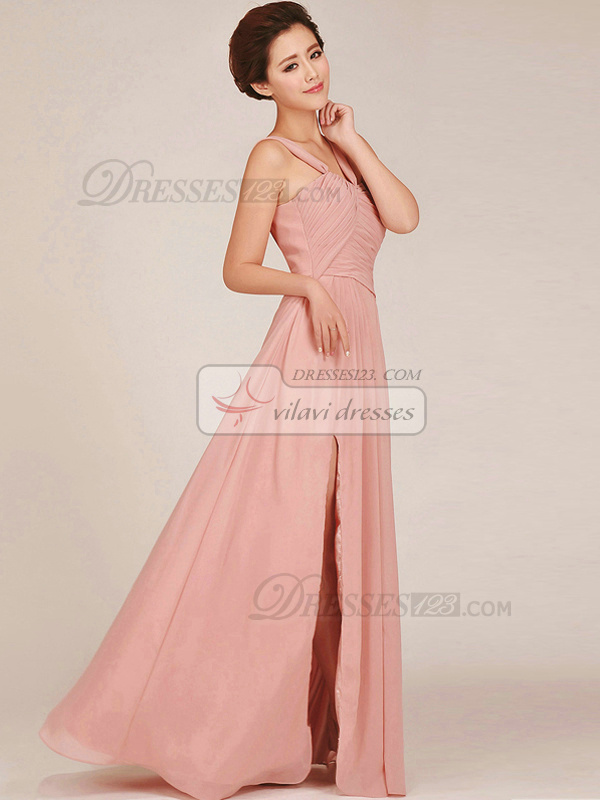 Column Straps Floor-length Chiffon Pink Ruched Bridesmaid Dresses