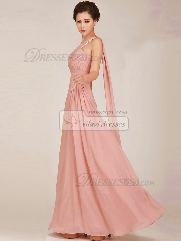Column One Shoulder Floor-length Chiffon Pink Ruched Bridesmaid Dresses