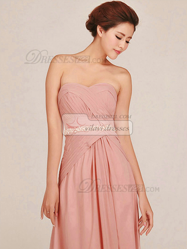 Column Sweetheart Floor-length Chiffon Sashes Split Pink Bridesmaid Dresses